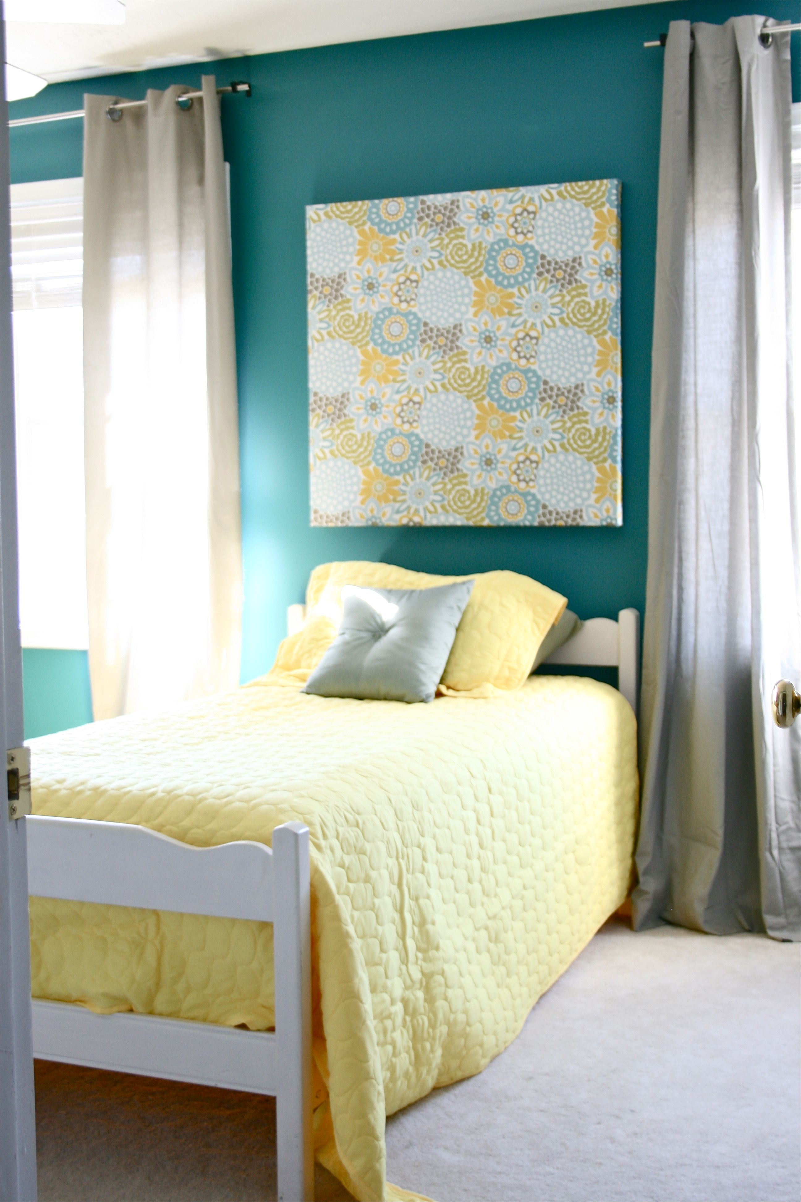 Teal And Yellow Bedroom Pinspiration Monday Brass Bed Dream Green Diy